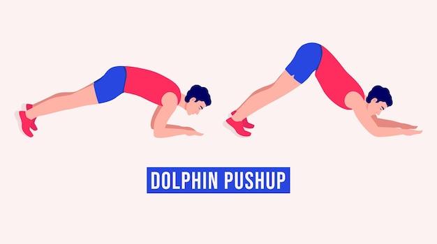 Dolphin pushup-oefening mannen workout fitness aerobics en oefeningen