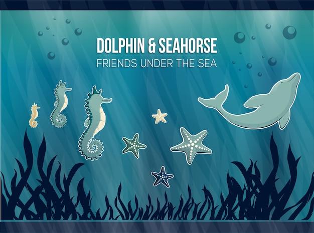 Dolphin & seahorse