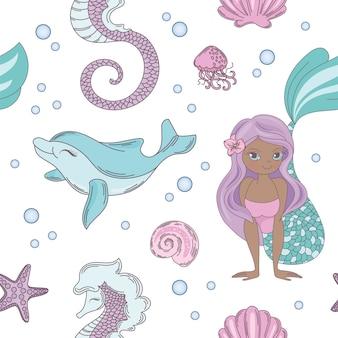 Dolphin smile mermaid seamless pattern