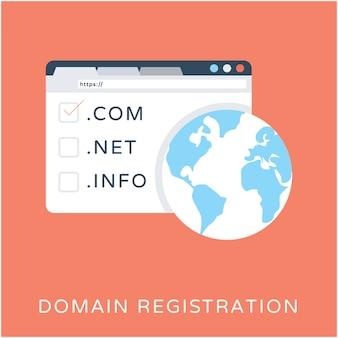 Domein registratie platte vector icon