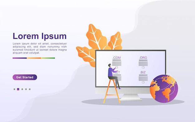Domeinnaam en registratieconcept. registreer een websitedomein, kies het juiste domein. kan gebruiken voor web-bestemmingspagina, banner, mobiele app.