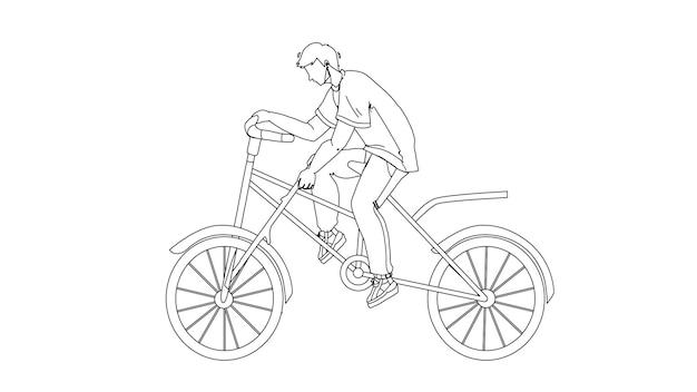 Domheid jongen sprak in fietswiel zwarte lijn potlood tekening vector. domme man fietsen en stok in transportwiel. karakter guy rijdt op de fiets en maakt een gevaarlijke actie-illustratie