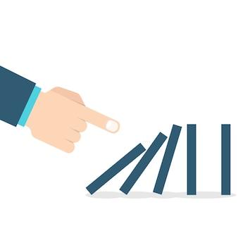 Domino effect. hand duwen de domino.