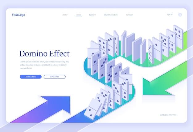 Domino-effect isometrische bestemmingspagina met dominostenen stukken rij vallen bedrijf crisisbeheer financiën interventie conflictpreventie of fout gevolg concept