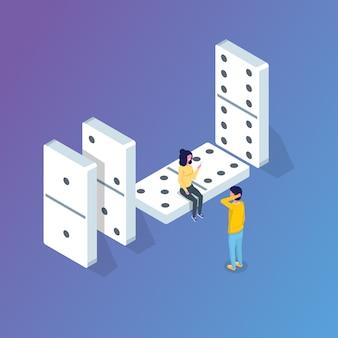 Domino isometrisch concept. vectorillustratie in vlakke stijl.