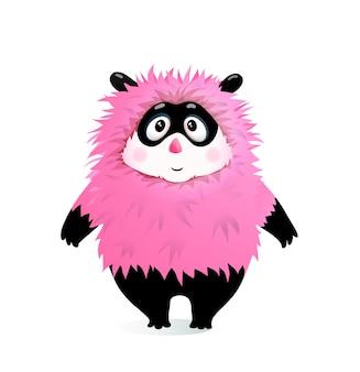 Domme pluizige humor kid monster mascotte cartoon voor kinderen en kleine kinderen.