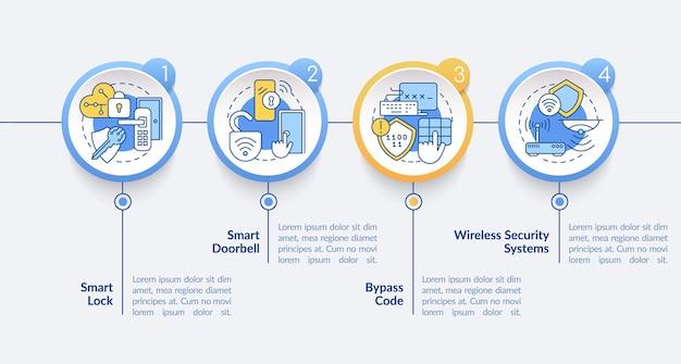 Domotica vector infographic sjabloon. smart home presentatie schets ontwerpelementen. datavisualisatie met 4 stappen. proces tijdlijn info grafiek. workflowlay-out met lijnpictogrammen
