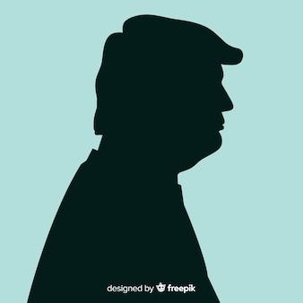 Donald-troefportret met silhouetstijl