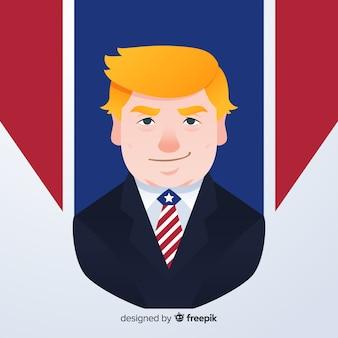 Donald-troefportret met vlak ontwerp