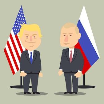 Donald trump en vladimir poetin staan samen