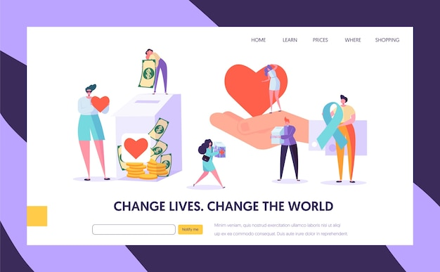 Donatie aan goede doelen verander de bestemmingspagina van de wereld. geef hoop dat je hulppersonage nodig hebt en red het leven. doneer gezonde transplanteerbare orgaan- of geldwebsite of webpagina. platte cartoon vectorillustratie
