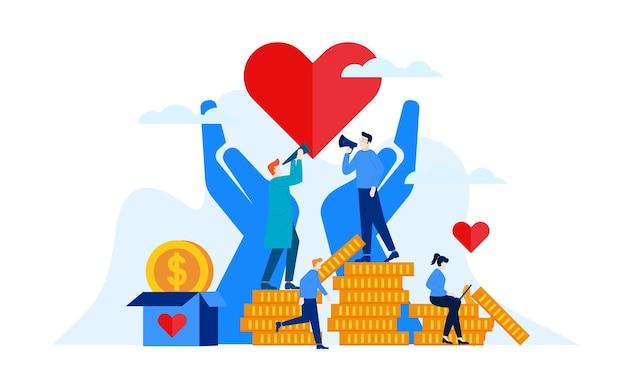 Donatie dag liefdadigheid met groot hart en grote handen platte afbeelding ontwerp