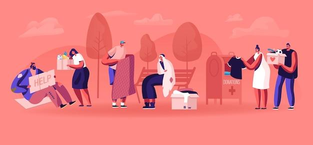 Donatie liefdadigheid en steun aan bedelaars concept. cartoon vlakke afbeelding