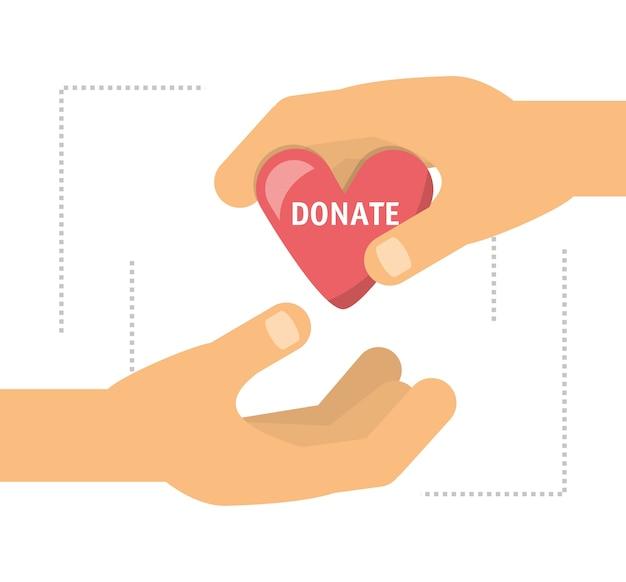 Donatie ondersteuning symbool voor de naastenliefde van de mensen