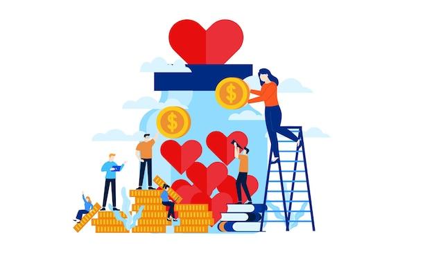 Donatie pot met groot hart platte afbeelding ontwerp