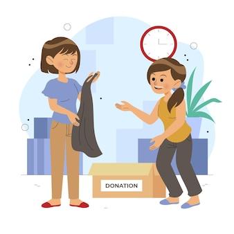 Donatie van platte kleding