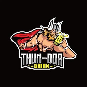 Donder god met drank mascotte gaming logo gratis vector