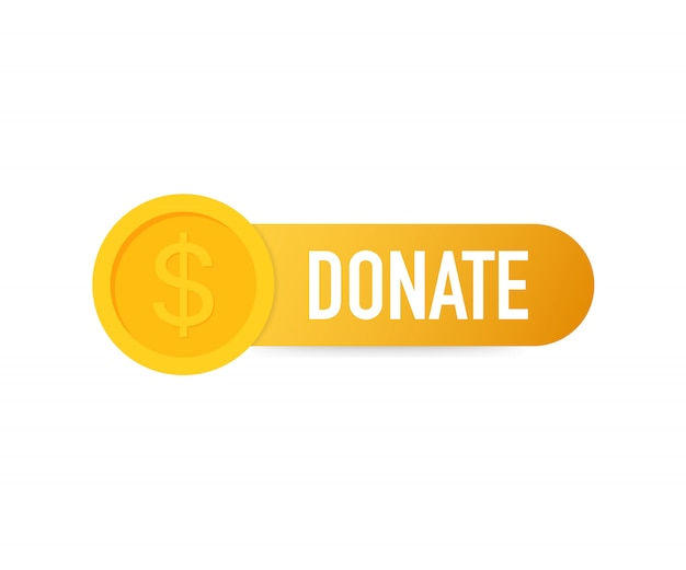 Doneer concept hand en geld knop in vlakke stijl.