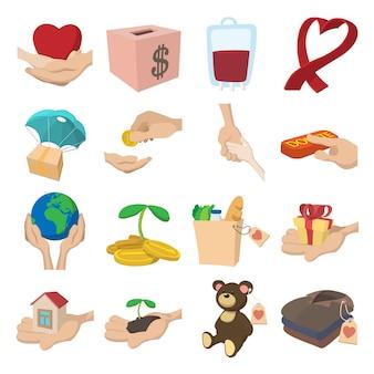 Doneer gegeven of liefdadigheid en hulp helpen of helpen cartoon pictogrammen instellen