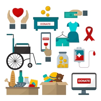 Doneer help icon set