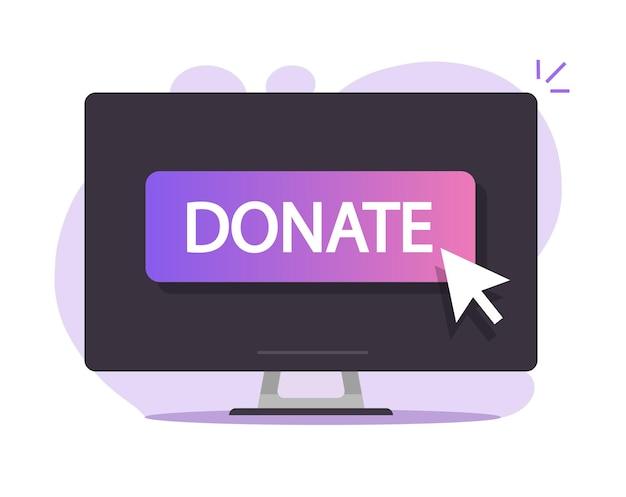 Doneer knop online op het pictogram van het computerscherm