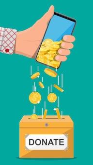 Doneer online concept. donatiedoos met gouden munten en hand met smartphone. internet geld overmaken. liefdadigheid, donatie, hulp en hulp concept. vectorillustratie in vlakke stijl