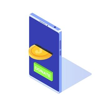 Doneer online isometrisch concept. smartphone met gouden munten en sleutel doneren.
