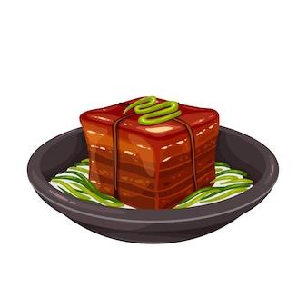 Dongpo varkensvlees chinees eten schotel. dong po rou varkensvlees gekleurde vectorillustratie.