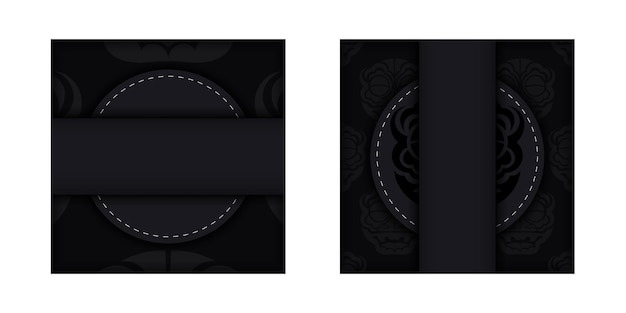 Donker ansichtkaartontwerp met abstract zilverachtig ornament. elegante en klassieke vectorelementen klaar voor print en typografie.