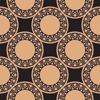 Donker bedauwd naadloos patroon met vintage ornamenten. achtergrond in een vintage stijlsjabloon. indiase bloemenelement. grafisch ornament voor stof, verpakking, verpakking.