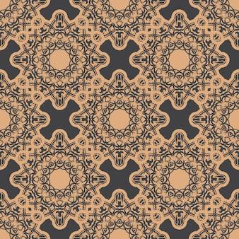 Donker bedauwd naadloos patroon met vintage ornamenten. behang in een vintage stijlpatroon. grafisch ornament voor behang, stof, verpakking, verpakking.