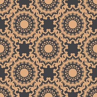 Donker bedauwd naadloos patroon met vintage ornamenten. behang in een vintage stijlpatroon. indiase bloemenelement. grafisch ornament voor behang, stof, verpakking en papier.