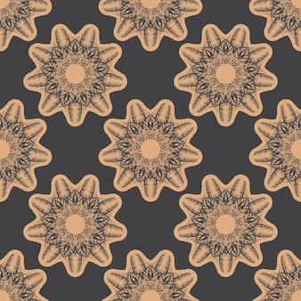 Donker bedauwd naadloos patroon met vintage ornamenten. behang in een vintage stijlpatroon. indiase bloemenelement. grafisch ornament voor behang, stof, verpakking.