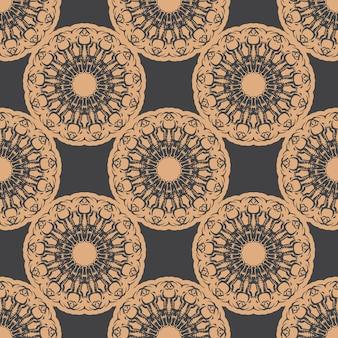 Donker bedauwd naadloos patroon met vintage ornamenten. behang in een vintage stijlpatroon. indiase bloemenelement. grafisch ornament voor behang, verpakking, verpakking.