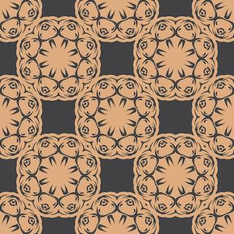 Donker bedauwd naadloos patroon met vintage ornamenten. behang in een vintage stijlpatroon. indiase bloemenelement. grafisch ornament voor stof, verpakking, verpakking.