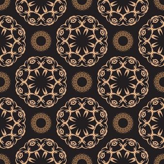 Donker bedauwd naadloos patroon met vintage ornamenten. behang in een vintage stijlpatroon. indiase bloemenelement. ornament voor behang, stof, verpakking, verpakking.