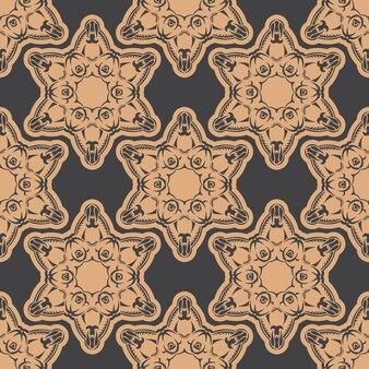 Donker bedauwd naadloos patroon met vintage ornamenten. indiase bloemenelement. grafisch ornament voor behang, stof, verpakking, verpakking.