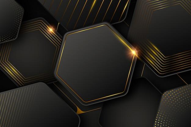 Donker behang met vormen en gouden lijnen