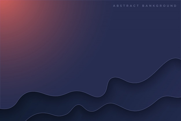 Donker blauwe paper art cartoon abstracte golven