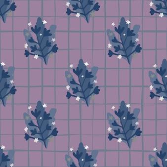 Donker bleek naadloos naïef patroon met takkenelementen. ontwerp in paarse tinten. achtergrond met vinkje.