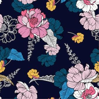 Donker bloeiend bloemnacht en gebladerte naadloos patroon