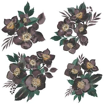 Donker bloemenboeket. aquarel illustratie. vector geïsoleerde elementen.