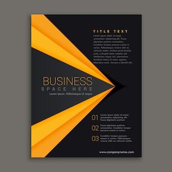 Donker brochure ontwerp met gele streep