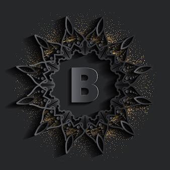Donker damast gouden monogram logo met glittereffect