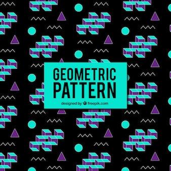 Donker geometrisch patroon met gekleurde vormen