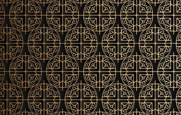 Donker gouden lijn geometrisch patroon