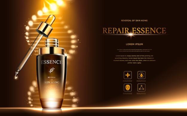Donker gouden reparatie-essence met spiraalvormige structuur en druppelflesje
