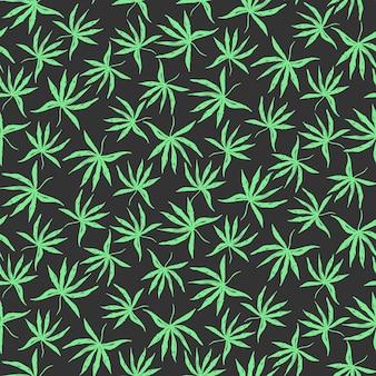 Donker handgetekend patroon met tropische wietbladeren