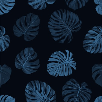 Donker indigopatroon met monsterapalmbladen op donkere achtergrond. naadloze tropische zomer.