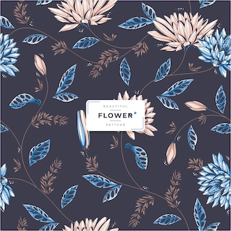 Donker mooi bloemen naadloos patroon
